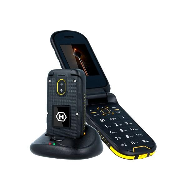 Myphone hammer bow+ negro amarillo móvil resistente ip68 3g dual sim 2.4'' cámara 2mp bluetooth incluye base de carga
