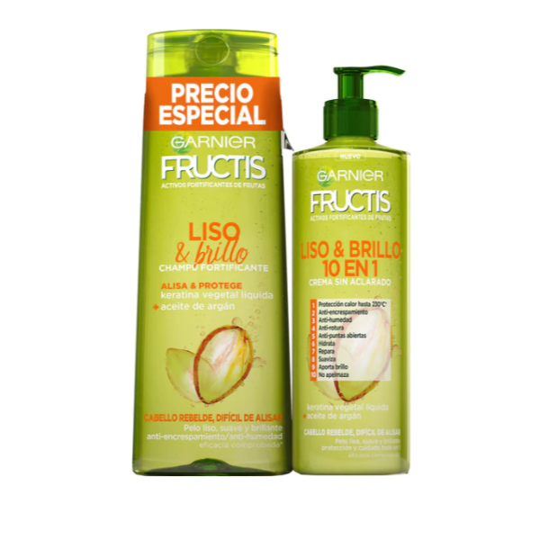 Fructis champú 360 ml + tratamiento 400 ml Liso & Brillo